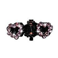 Barrette pince coeur strass rose petit chien