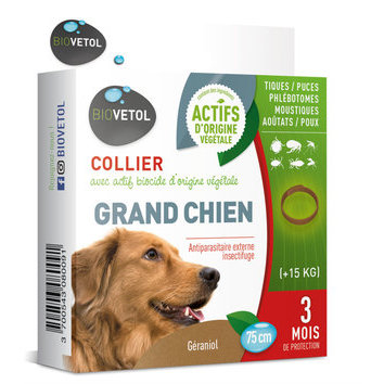 Collier insectifuge Grand Chien + 15 kg Biovetol