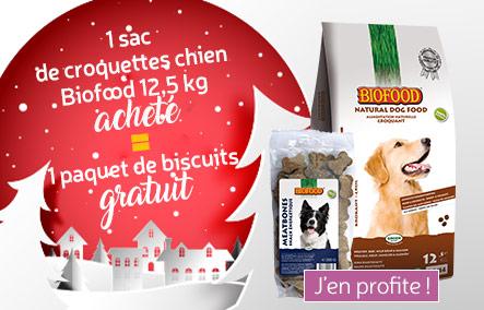 croquette Biofood un sac acheté en 12.5 kg un paquet de biscuit offert